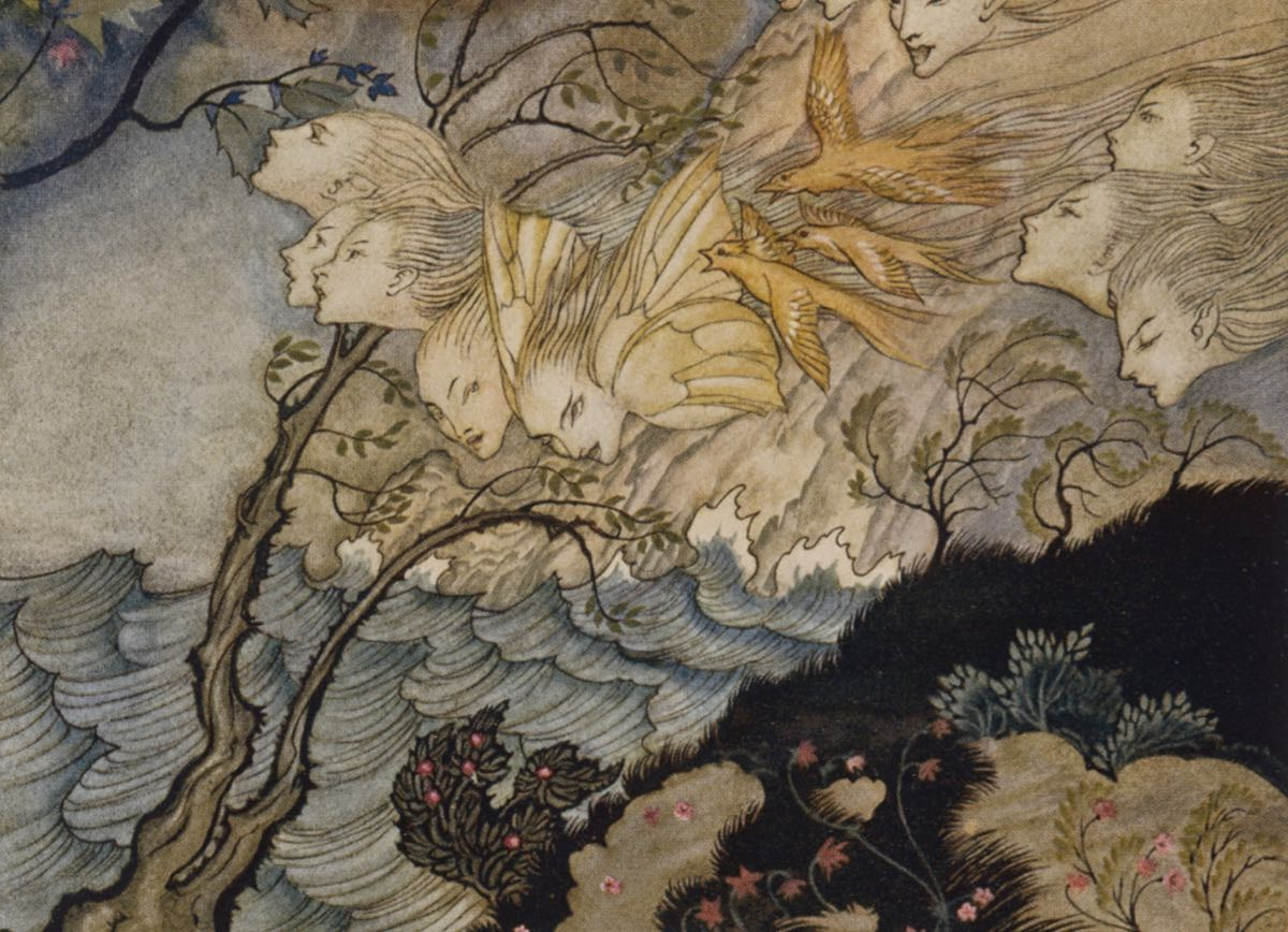 Detail from The Tempest, an illustration by Arthur Rackham
